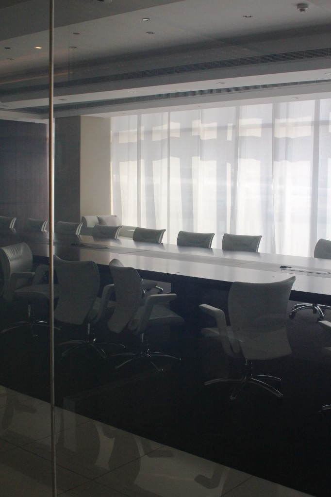 An image of switchable glass at Etihad's HQ in Abu Dhabi