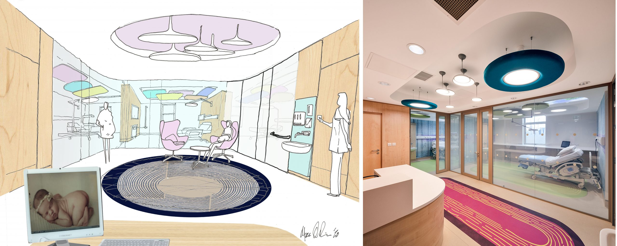 detailed sketch of partition privacy smart glass in hospital setting