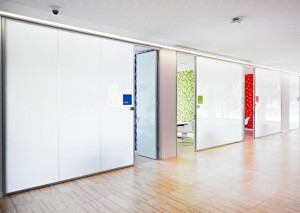 An image of switchable glass installed at Microsoft's Portuguese HQ